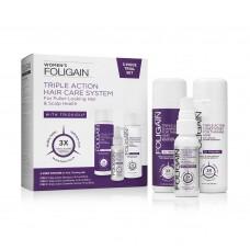FOLIGAIN® WOMEN'S TRIPLE ACTION COMPLETE SYSTEM FOR THINNING HAIR (3-Piece Starter/Trial Set) – система за възстановяване на оредяла и слаба коса за жени – сет 3 в 1