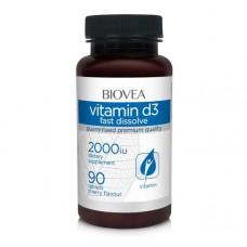 Vitamin D3 2000iu 60 caps - Biovea за здрави кости и зъби, против остеопороза
