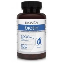 Хранителна добавка Biovea BIOTIN 5000mcg 100 капсули цена 33.00 лв.