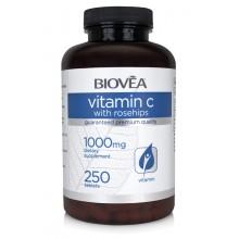 Витамини Biovea VITAMIN C with ROSE HIPS 1000mg 250 Tablets - цена 49.00лв.