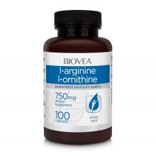 Хранителна добавка Biovea L-ARGININE / L-ORNITHINE (750mg) 100 капсули