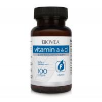 Хранителна добавка Biovea VITAMIN A & D 100 Softgels - цена 30.50 лв.